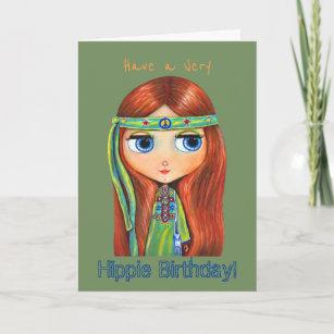 Have A Very Hippie Birthday! Big Eye Hippie Chick Card