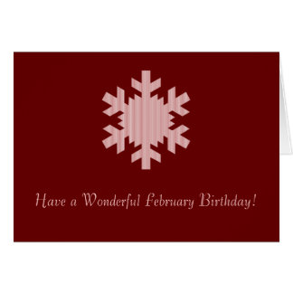 """Have a Wonderful February Birthday"" - Striped Sno Card"