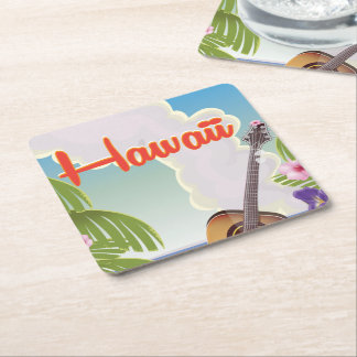 Hawaii acoustic guitar vintage travel poster. square paper coaster