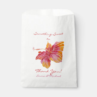 Hawaii Hibiscus Flower Wedding Thank You Favor Bag Favour Bags