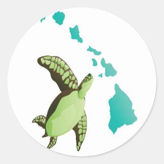 Hawaii  Islands Turtle Classic Round Sticker