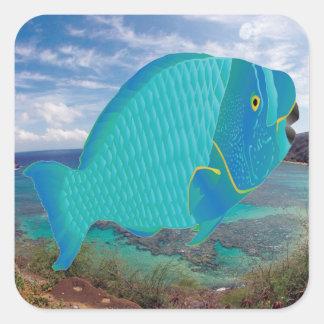 Hawaii Parrot Fish Square Sticker