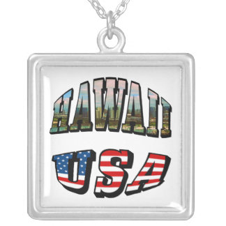 Hawaii Picture and USA Flag Text Silver Plated Necklace