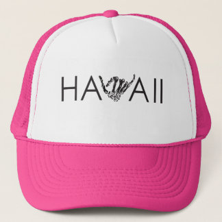 Hawaii Skeleton Shaka - Pink & White Trucker Hat