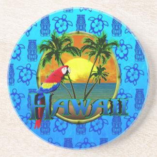 Hawaii Sunset Blue Tiki Coaster