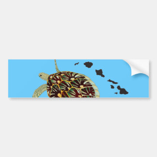Hawaii Turtle and Hawaii Islands Bumper Sticker
