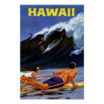Hawaii Vintage Travel Poster Restored