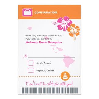 Hawaii Wedding RSVP Confirmation Boarding Pass Card