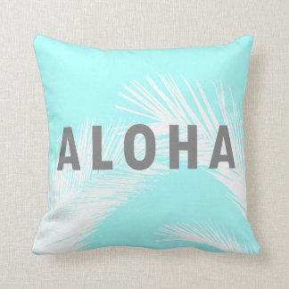Hawaiian Aloha Grey Typography Palm Trees  Blue Cushion
