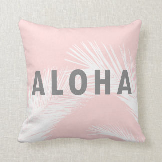 Hawaiian Aloha Grey Typography Palm Trees  Pink Cushion