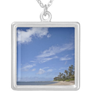 Hawaiian beach with palm trees. silver plated necklace