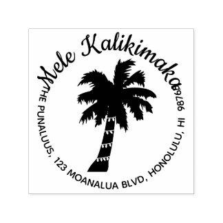 Hawaiian Christmas Address Stamp Palm Tree Round
