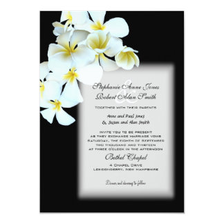Hawaiian Flowers Custom Black Wedding Invite