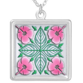 Hawaiian flowers tropical ornament silver plated necklace