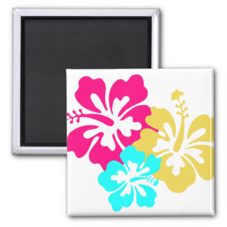 Hawaiian Hibiscus Flowers Square Magnet