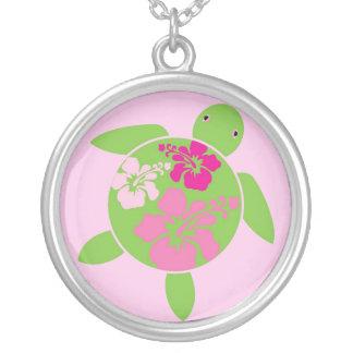 Hawaiian Honu Sterling Silver Necklace - Pink Hibi