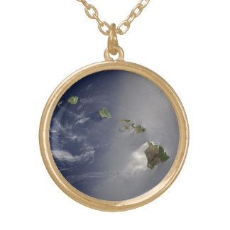 Hawaiian Islands Satellite View Gold Plated Necklace