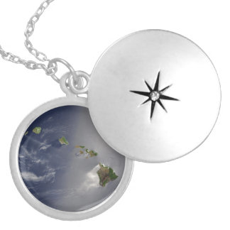 Hawaiian Islands Satellite View Locket Necklace