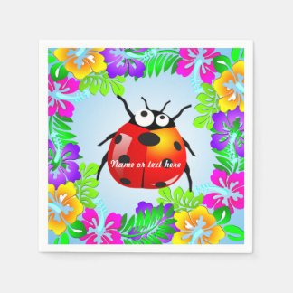 Hawaiian lady bug on colorful hibiscus flowers disposable serviettes