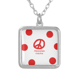 Hawaiian Language And Peace Symbol Design Silver Plated Necklace
