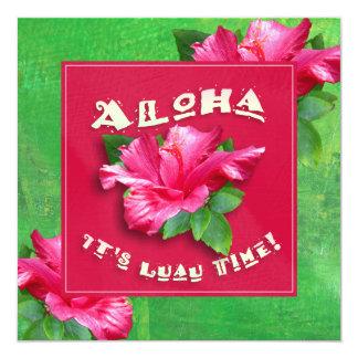 Hawaiian Luau Invitations Pink Hibiscus