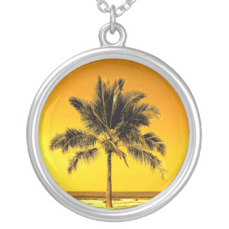 Hawaiian Palm Tree Silver Plated Necklace