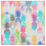 Hawaiian Pineapple Pattern Tropical Watercolor Fabric