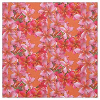 Hawaiian Plumeria Pink Flowers on Orange