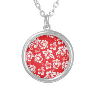 Hawaiian Red Flowers Silver Plated Necklace