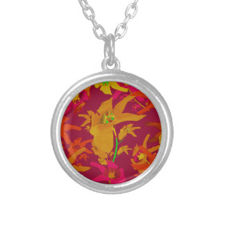 Hawaiian Tropical Style Lilies Collage Silver Plated Necklace