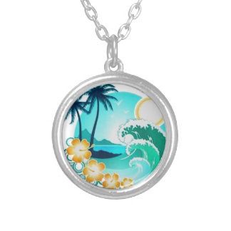 HAWAIIAN TROPICAL SURF ART SILVER PLATED NECKLACE