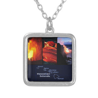 Hawaiian volcano silver plated necklace