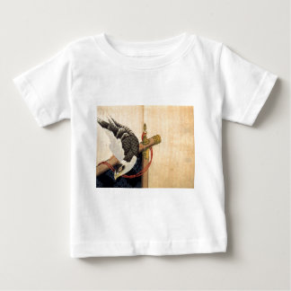 Hawk on a ceremonial stand by Katsushika Hokusai Baby T-Shirt
