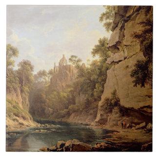 Hawthornden Castle, near Edinburgh, c.1820-22 (oil Tile