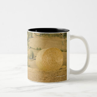 Hay bale and rolling landscape, Tuscany, Italy Two-Tone Coffee Mug
