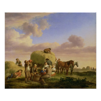 Haymakers resting in a field print