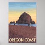 Haystack Rock Vintage Travel Poster