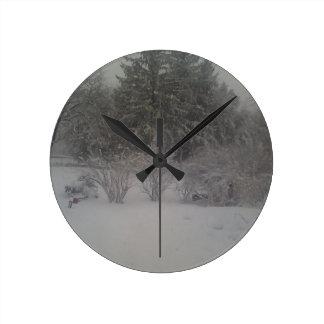 Hazy shade of winter round clock