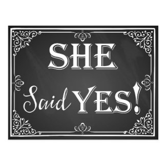 """He asked she said """"Yes"""" engagement card photo prop Postcard"""
