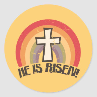 He Is Risen Religious Easter Round Stickers