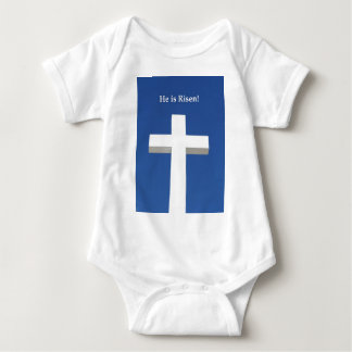 He is Risen!, White cross on Aruba Baby Bodysuit