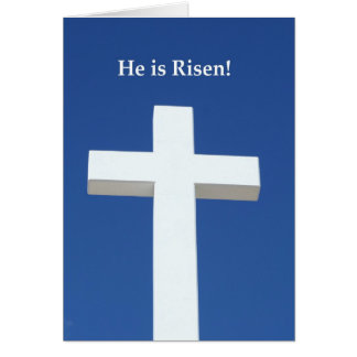 He is Risen!, White cross on Aruba Greeting Card
