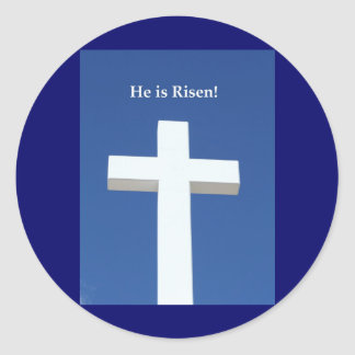 He is Risen!, White cross on Aruba Round Sticker