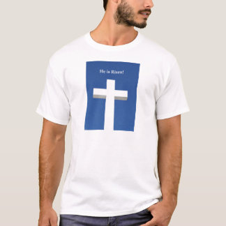 He is Risen!, White cross on Aruba T-Shirt