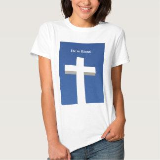 He is Risen!, White cross on Aruba Tees