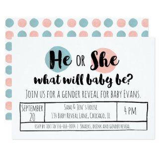 He or She Gender Reveal Card