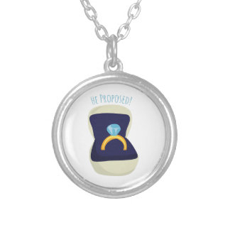 He Proposed! Round Pendant Necklace