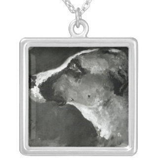 Head of a Dog with Short Ears, 1879 Silver Plated Necklace