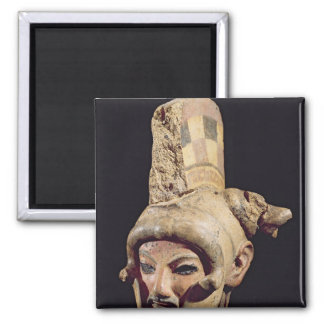 Head of a warrior wearing a helmet square magnet