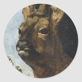Head of a Young Doe by Gustave Courbet Classic Round Sticker